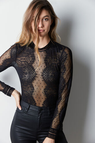 OPIA LACE BODYSUIT in colour CAVIAR