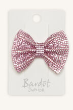 ALL THE DIAMANTES BOW HAIR CLIP in colour PINK CARNATION