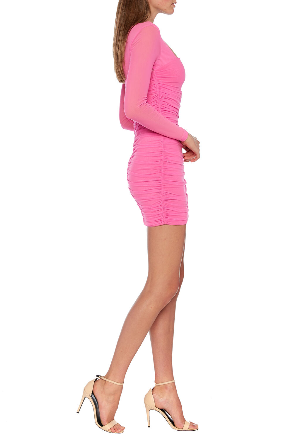 TASHA MESH DRESS in colour SHOCKING PINK