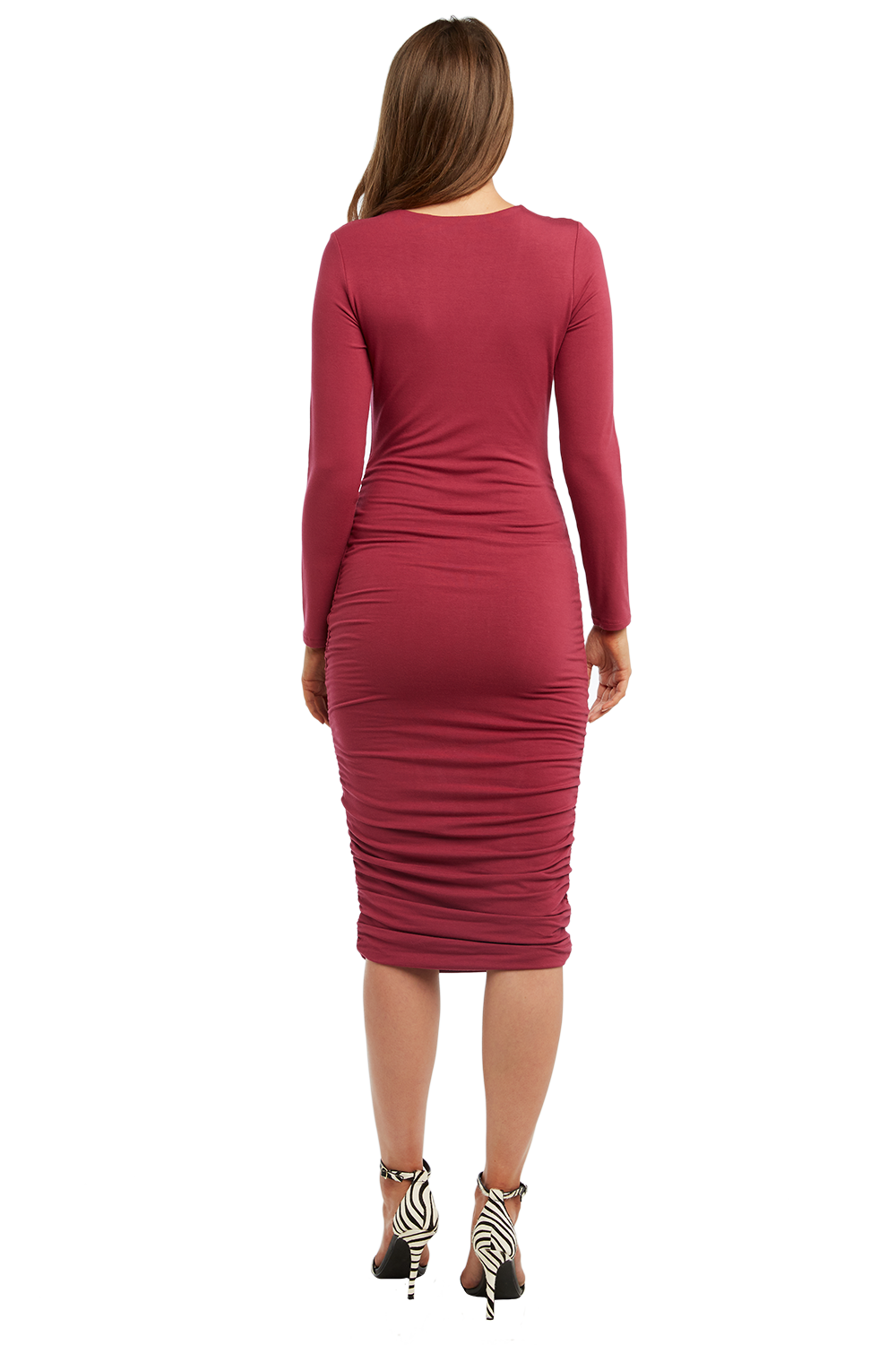 RACHEL ROUCHED DRESS in colour DRY ROSE