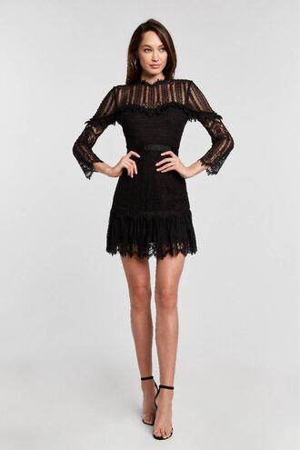 TESSIE LACE DRESS in colour CAVIAR