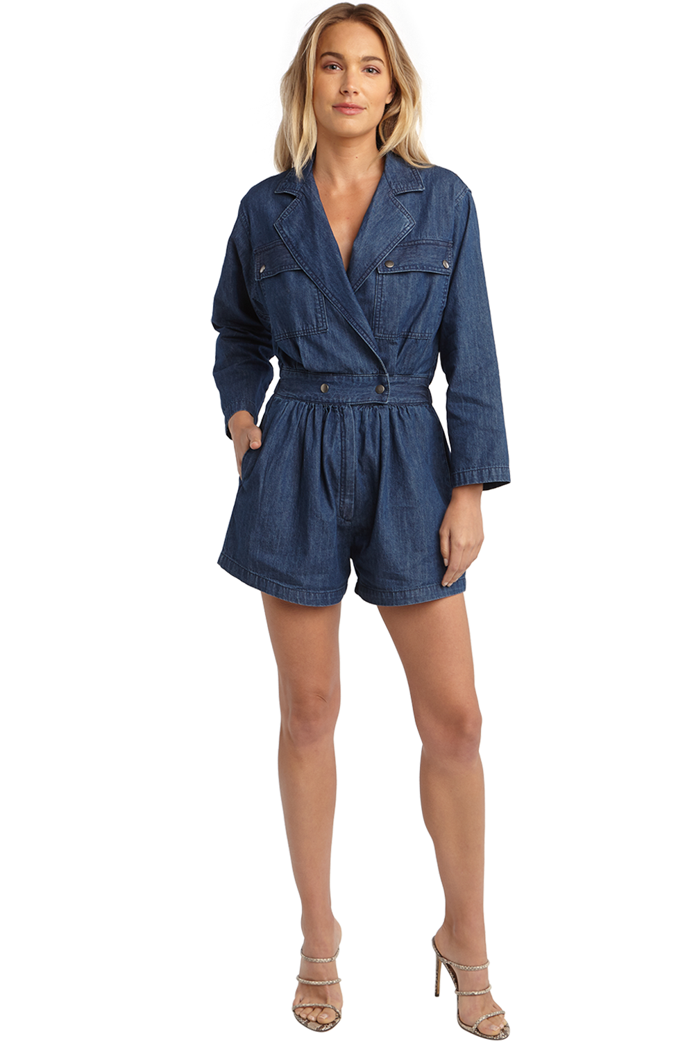 DENIM LAPEL PLAYSUIT in colour TRUE NAVY