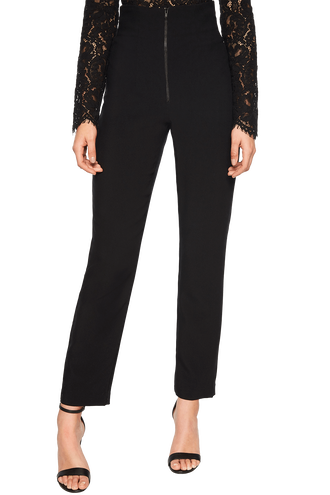 STEF SKINNY ZIP PANT in colour CAVIAR