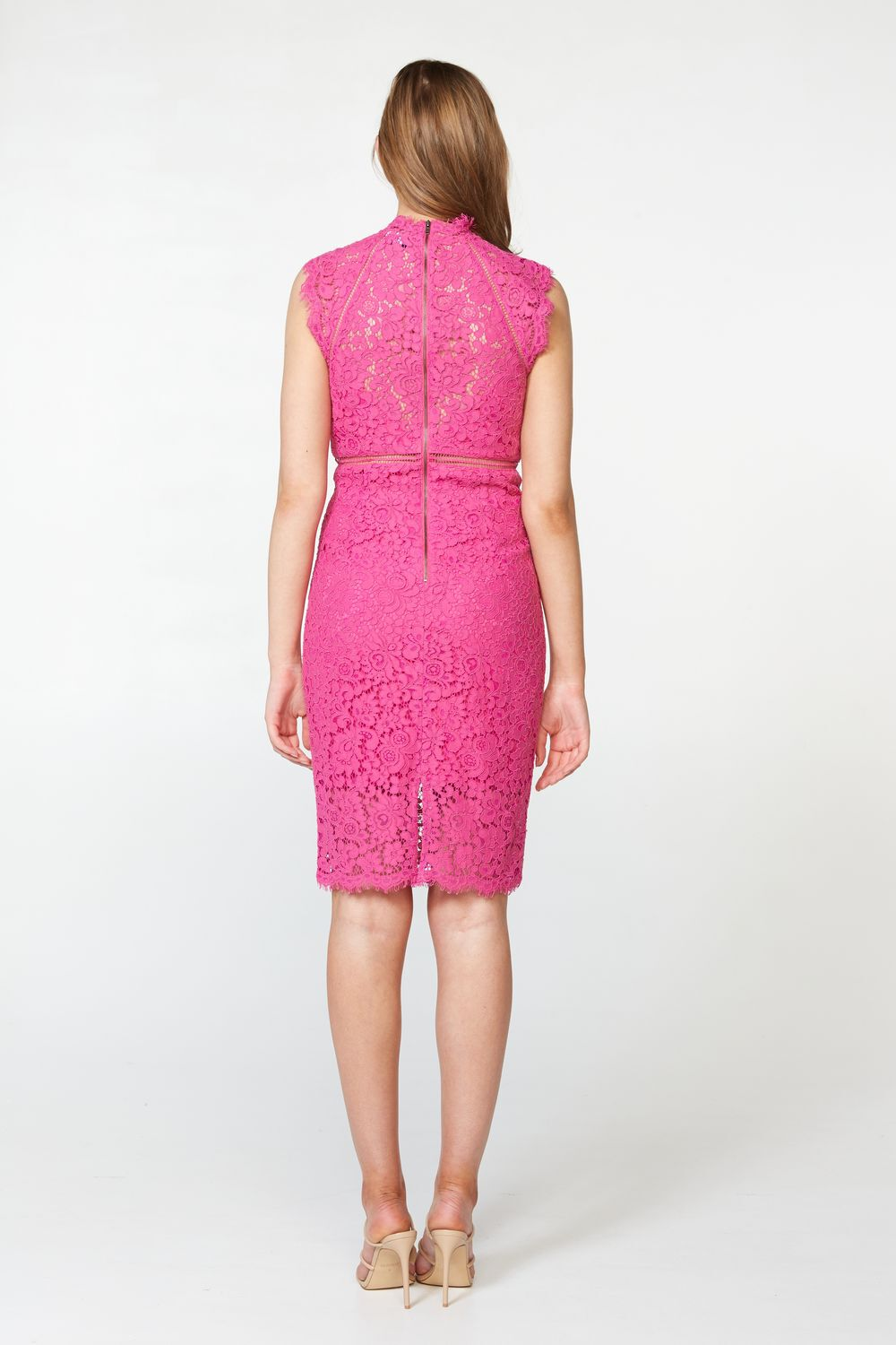 LACE PANEL DRESS in colour MAGENTA