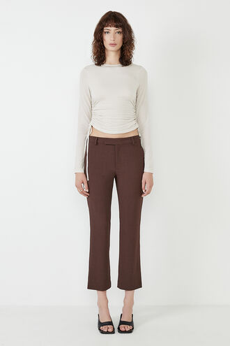 LEIA TROUSER in colour CHOCOLATE BROWN