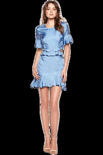 CHARLIE FRILL DRESS in colour BLUE BONNET