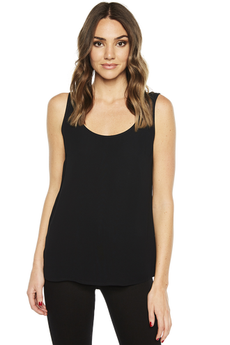 WOVEN RIKKI TANK TOP in colour CAVIAR