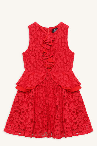 INGRID RUFFLE DRESS in colour LOLLIPOP