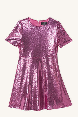 PETA SEQUIN DRESS in colour MAGENTA