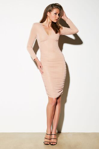 LORENA STRETCH DRESS in colour CHAMPAGNE BEIGE