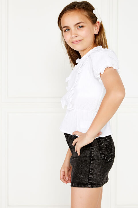 TWEEN GIRL PIA RUFFLE TOP in colour CLOUD DANCER