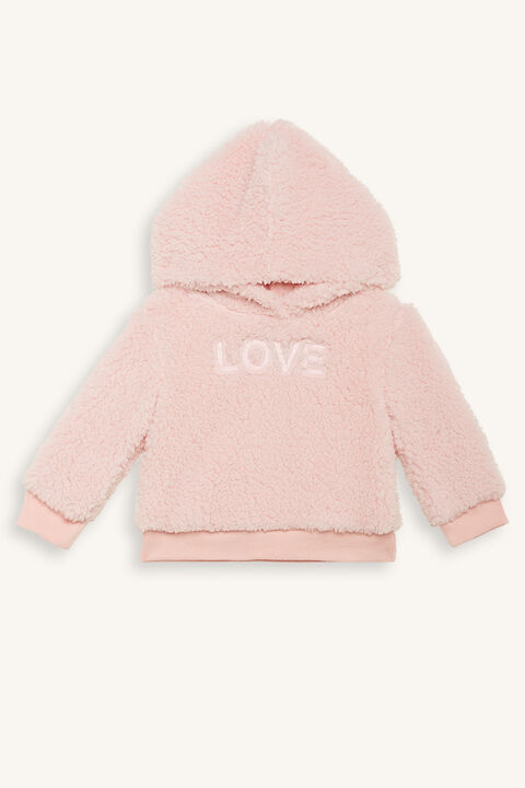 LOVE FLUFFY SWEAT TOP in colour PRIMROSE PINK