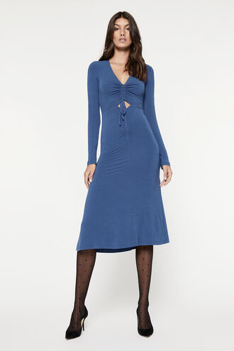 RUCHED JERSEY DRESS in colour BLUEBIRD