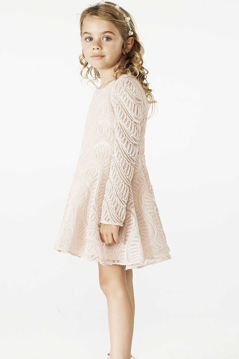 JUNIOR GIRL THE ELLE DRESS in colour PEACH BLUSH