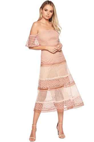 KRISTEN LACE DRESS in colour MELLOW ROSE