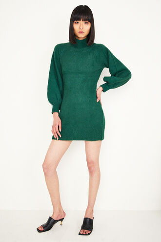 BELL SLV KNIT DRESS in colour DARK GREEN