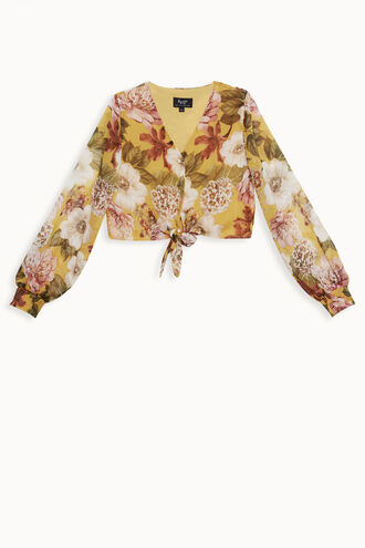 TAHLIA TIE BLOUSE in colour MISTED YELLOW