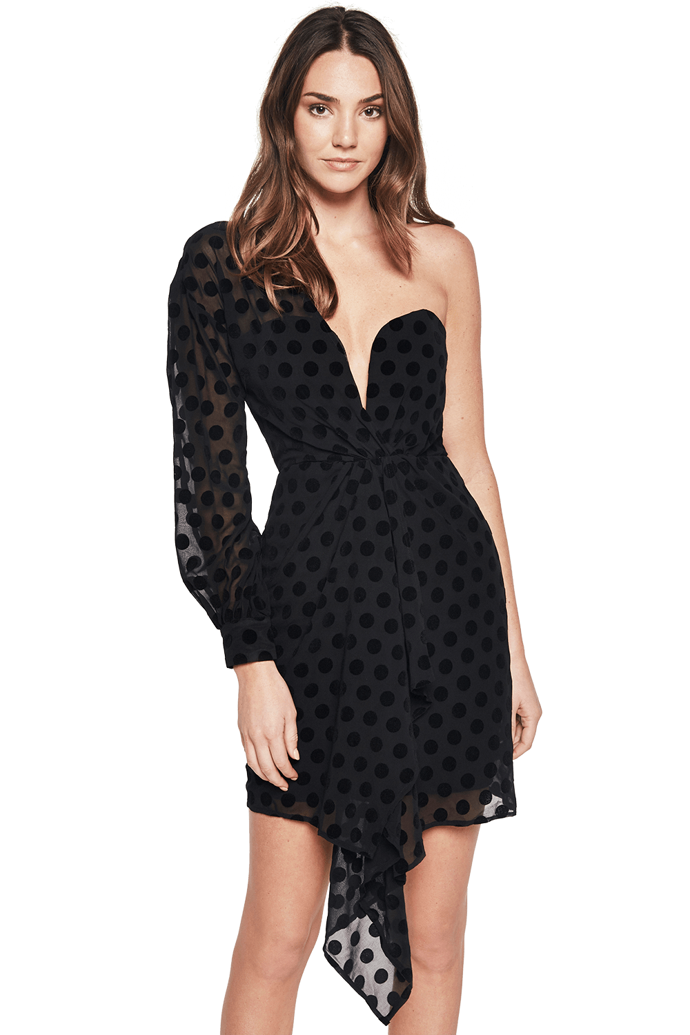 VELVET SPOT DRESS in colour CAVIAR