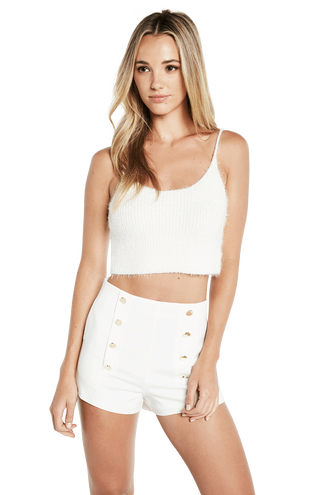 FLUFFY KNIT CAMI in colour SNOW WHITE