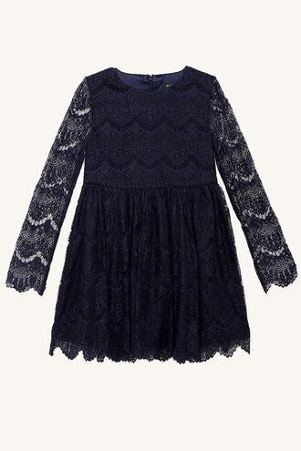 GERTRUDE LACE DRESS in colour BLACK IRIS