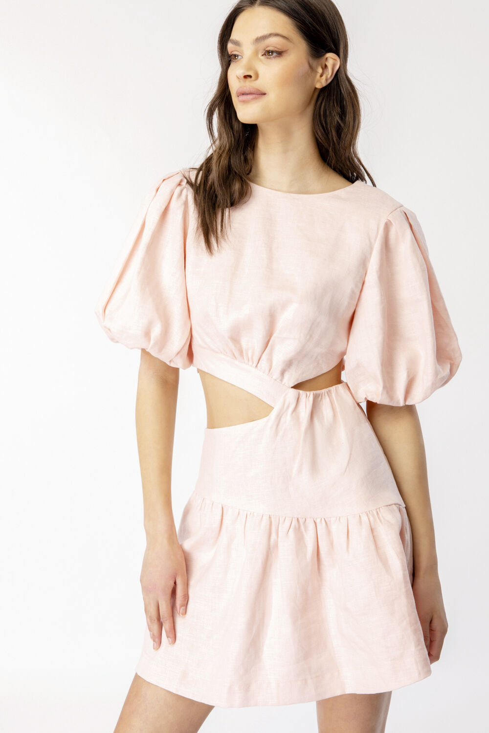 MIMI LINEN DRESS in colour SOFT PINK