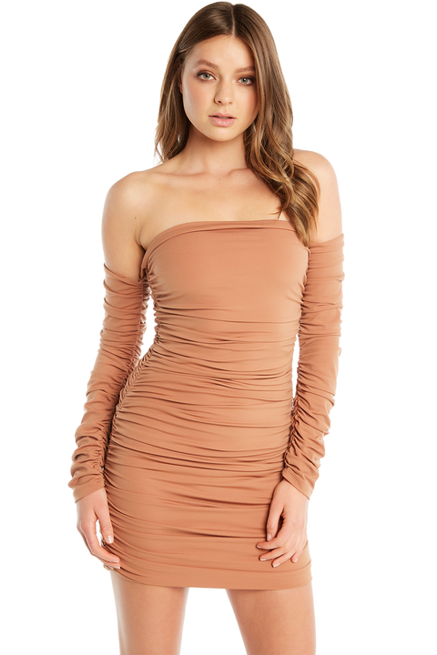 OFF SHOULDER DRESS in colour COPPER BROWN