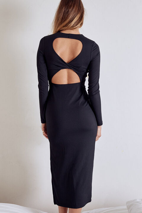 TWIST BACK DRESS in colour CAVIAR