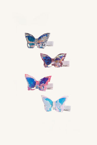 HOLO BUTTERFLY CLIPS in colour BRIGHT WHITE