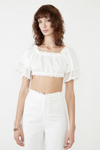 LINEN CROCHET TOP in colour CLOUD DANCER