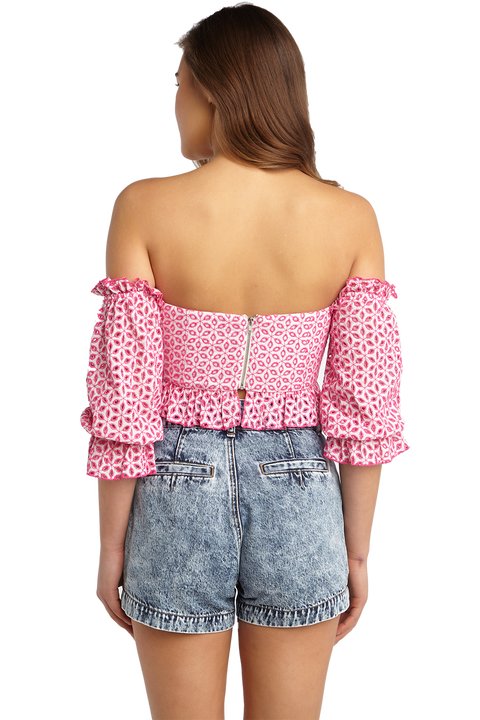 ORELLA TOP in colour SHOCKING PINK