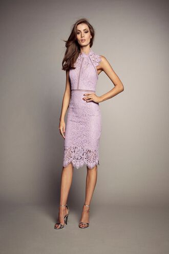 LACE PANEL DRESS in colour PURPLE POTION