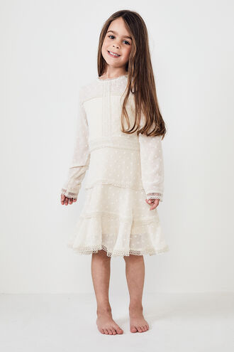 LEYTON DOBBY DRESS in colour CLOUD DANCER