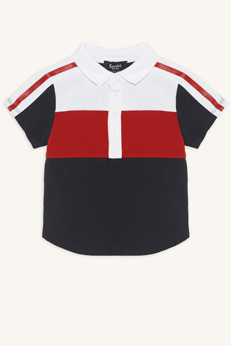 PANEL POLO TEE in colour DRESS BLUES