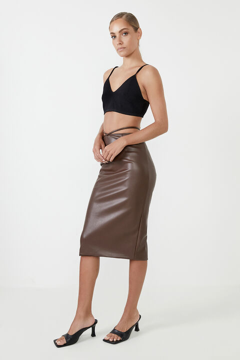 STRAPPY VEGAN LEATHER MIDI SKIRT in colour CHOCOLATE BROWN