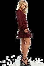 LUELLA LACE TRIM DRESS in colour BURGUNDY