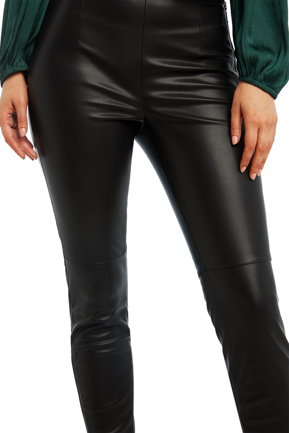 TAILORED PU PANT in colour CAVIAR