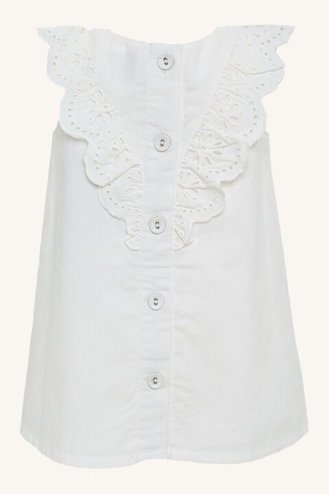 HILDE BRODERIE SHIFT DRESS in colour CLOUD DANCER