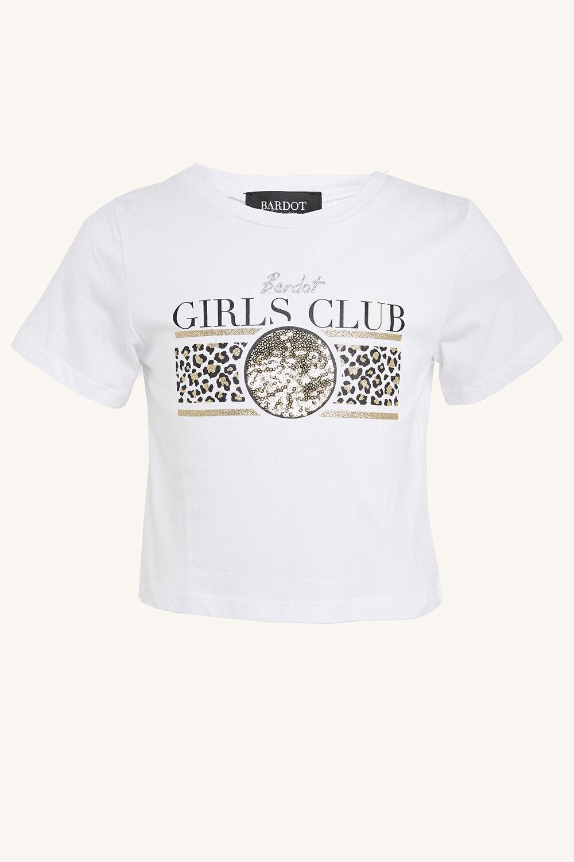 Bardot Club Crop Tee in colour CLOUD DANCER
