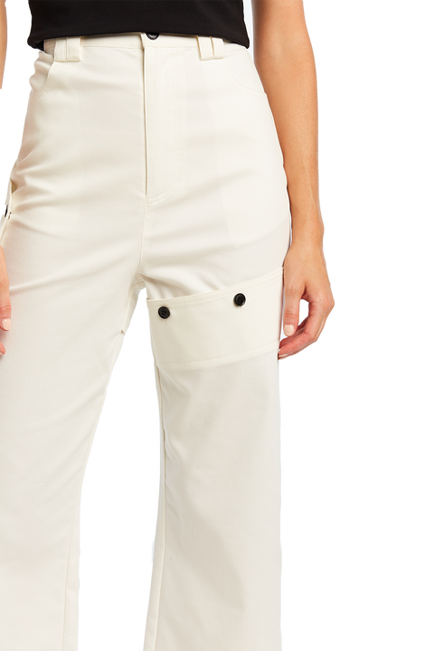 BUTTON COMBAT PANT in colour CLOUD DANCER