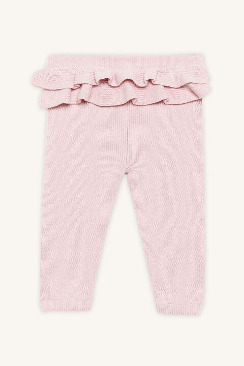 RUFFLE KNIT PANT in colour PEARL BLUSH