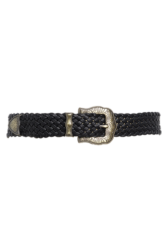FIRE WOVEN BUCKLE BELT in colour METEORITE