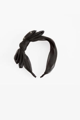BLACK PEARL BOW HEADBAND in colour CAVIAR