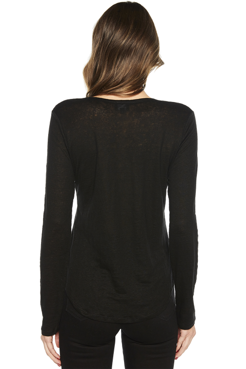 CHARLOTTE LONG SLEEVE TOP in colour CAVIAR