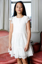 TWEEN GIRL SIENNA TIERED DRESS   in colour CLOUD DANCER