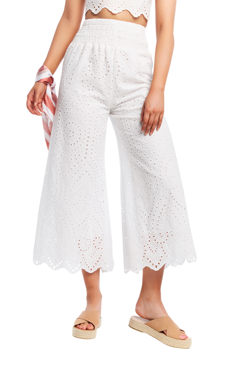 BRODERIE PANT in colour CLOUD DANCER