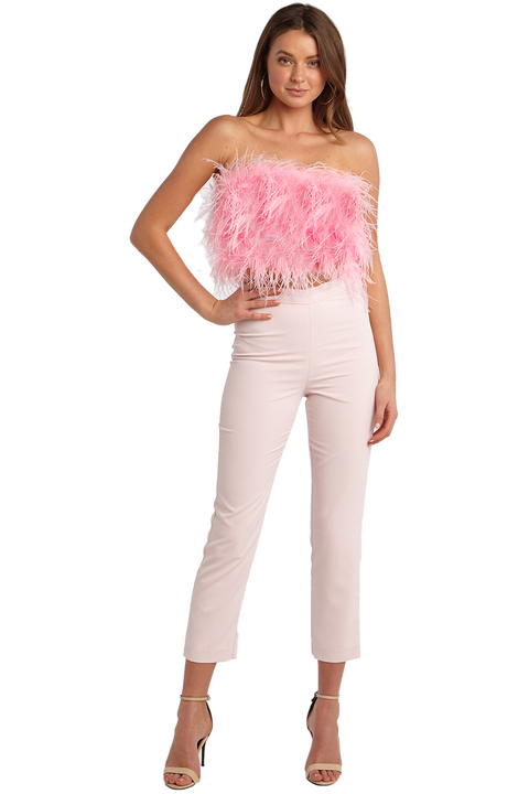 FEATHER BUSTIER TOP in colour DELICACY