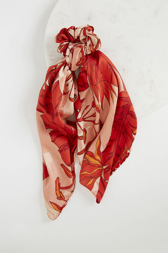 RED PALM SCRUNCHIE SCARF. in colour FIESTA