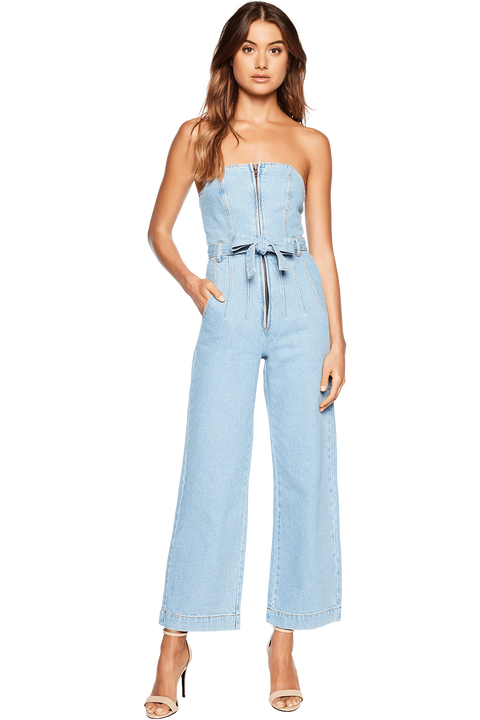 WIDE LEG DENIM ROMPER