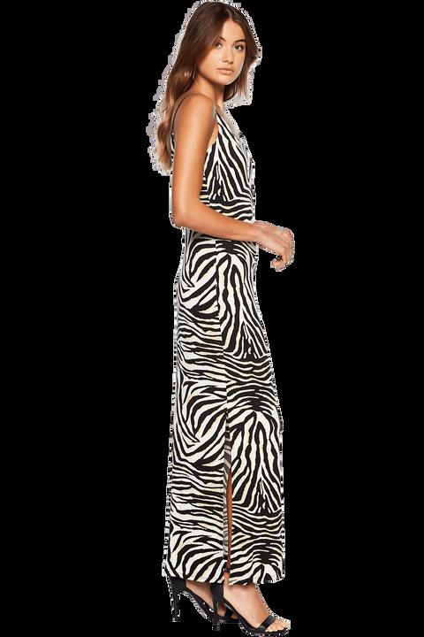 ZEBRA PRINT MAXI DRESS in colour CAVIAR