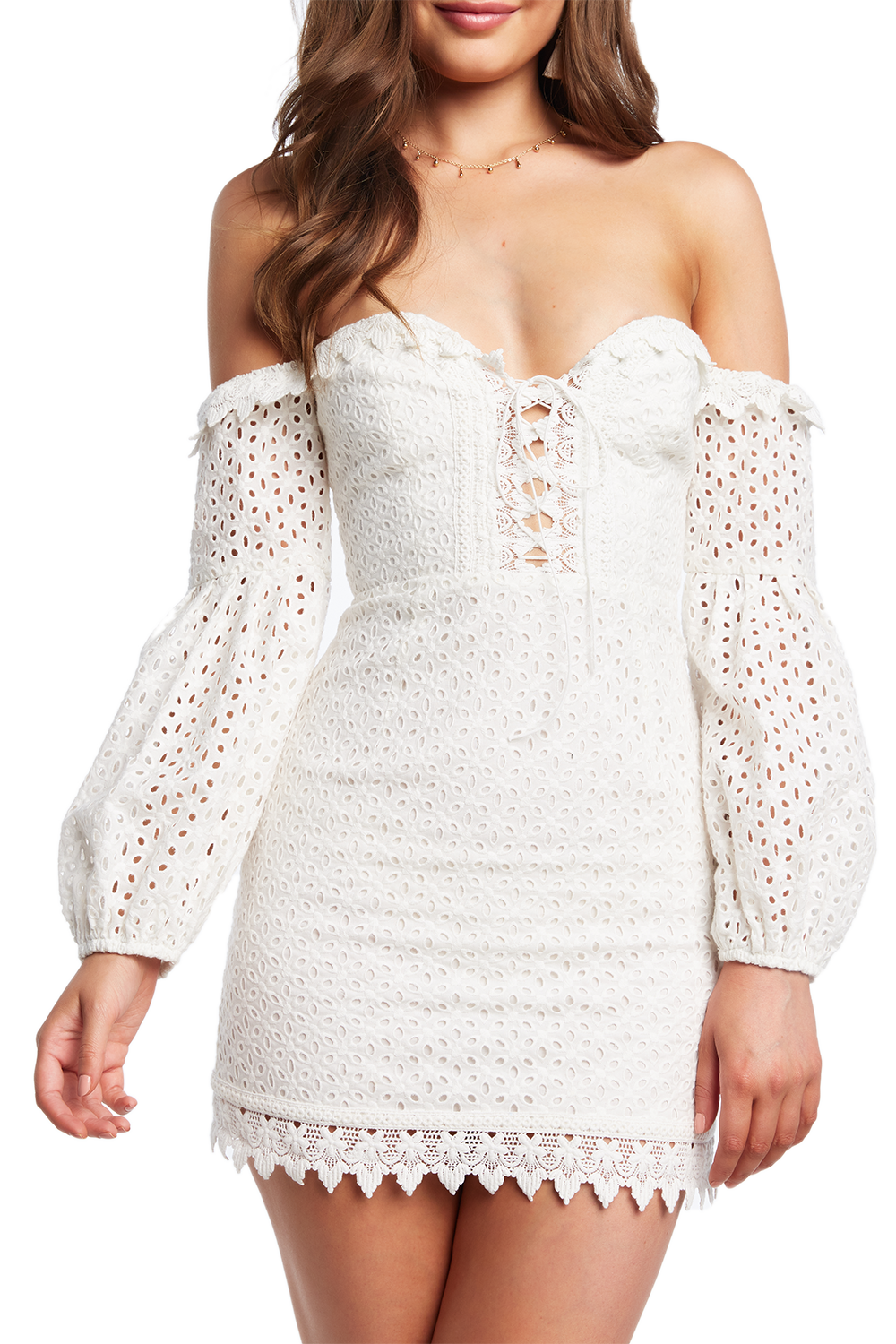 LACE BUSTIER DRESS in colour CLOUD DANCER
